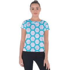 Hexagon2 White Marble & Turquoise Colored Pencil (r) Short Sleeve Sports Top