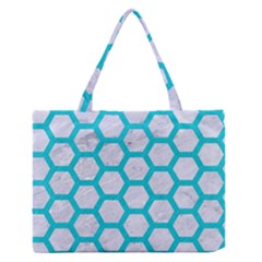 Hexagon2 White Marble & Turquoise Colored Pencil (r) Zipper Medium Tote Bag by trendistuff