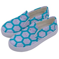 Hexagon2 White Marble & Turquoise Colored Pencil (r) Kids  Canvas Slip Ons by trendistuff