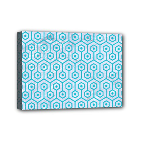 Hexagon1 White Marble & Turquoise Colored Pencil (r) Mini Canvas 7  X 5  by trendistuff