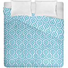 Hexagon1 White Marble & Turquoise Colored Pencil (r) Duvet Cover Double Side (king Size) by trendistuff