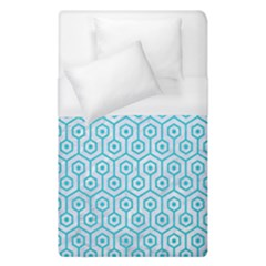 Hexagon1 White Marble & Turquoise Colored Pencil (r) Duvet Cover (single Size) by trendistuff