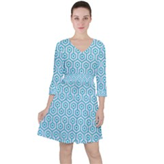 Hexagon1 White Marble & Turquoise Colored Pencil (r) Ruffle Dress