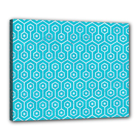 Hexagon1 White Marble & Turquoise Colored Pencil Canvas 20  X 16  by trendistuff