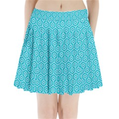 Hexagon1 White Marble & Turquoise Colored Pencil Pleated Mini Skirt