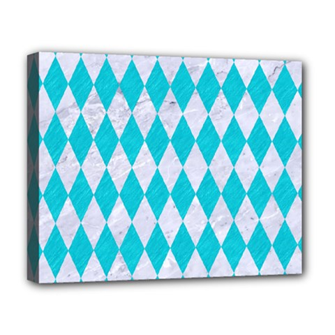 Diamond1 White Marble & Turquoise Colored Pencil Deluxe Canvas 20  X 16