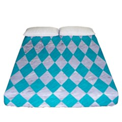 Diamond1 White Marble & Turquoise Colored Pencil Fitted Sheet (california King Size) by trendistuff