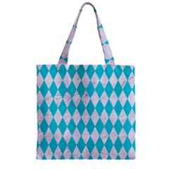 Diamond1 White Marble & Turquoise Colored Pencil Zipper Grocery Tote Bag by trendistuff