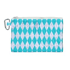 Diamond1 White Marble & Turquoise Colored Pencil Canvas Cosmetic Bag (large)