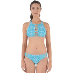 Damask2 White Marble & Turquoise Colored Pencil Perfectly Cut Out Bikini Set by trendistuff
