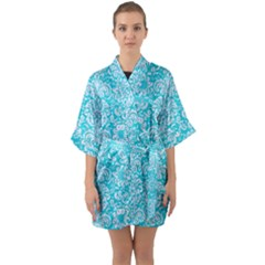 Damask2 White Marble & Turquoise Colored Pencil Quarter Sleeve Kimono Robe by trendistuff