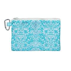 Damask2 White Marble & Turquoise Colored Pencil Canvas Cosmetic Bag (medium) by trendistuff