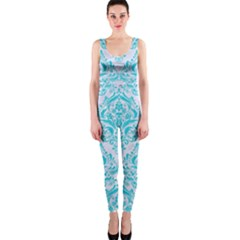Damask1 White Marble & Turquoise Colored Pencil (r) One Piece Catsuit by trendistuff