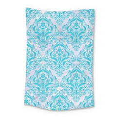 Damask1 White Marble & Turquoise Colored Pencil (r) Small Tapestry by trendistuff