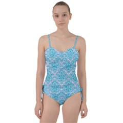 Damask1 White Marble & Turquoise Colored Pencil (r) Sweetheart Tankini Set