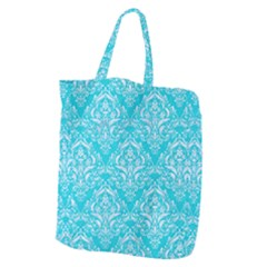 Damask1 White Marble & Turquoise Colored Pencil Giant Grocery Zipper Tote by trendistuff