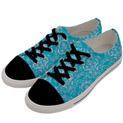 Damask1 White Marble & Turquoise Colored Pencil Men s Low Top Canvas Sneakers by trendistuff