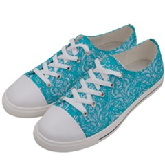 Damask1 White Marble & Turquoise Colored Pencil Women s Low Top Canvas Sneakers by trendistuff