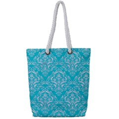 Damask1 White Marble & Turquoise Colored Pencil Full Print Rope Handle Tote (small) by trendistuff