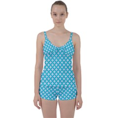 Circles3 White Marble & Turquoise Colored Pencil (r) Tie Front Two Piece Tankini