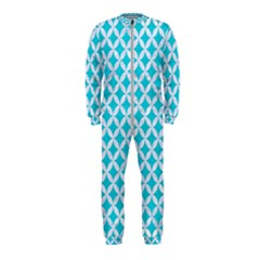 Circles3 White Marble & Turquoise Colored Pencil Onepiece Jumpsuit (kids)