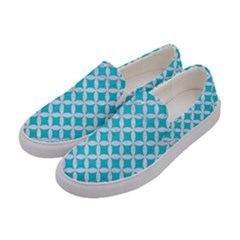 Circles3 White Marble & Turquoise Colored Pencil Women s Canvas Slip Ons by trendistuff