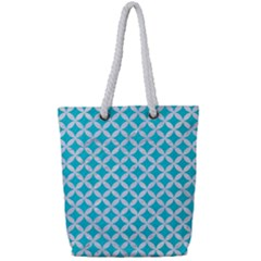 Circles3 White Marble & Turquoise Colored Pencil Full Print Rope Handle Tote (small) by trendistuff