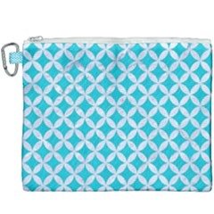 Circles3 White Marble & Turquoise Colored Pencil Canvas Cosmetic Bag (xxxl) by trendistuff
