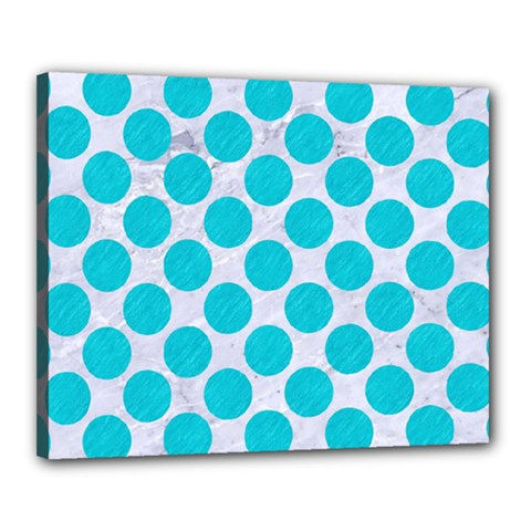 Circles2 White Marble & Turquoise Colored Pencil (r)encil (r) Canvas 20  X 16  by trendistuff