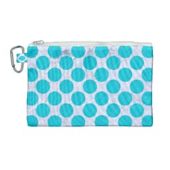 Circles2 White Marble & Turquoise Colored Pencil (r)encil (r) Canvas Cosmetic Bag (large)
