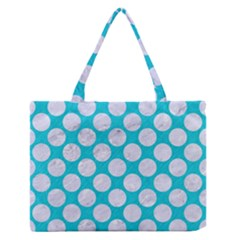Circles2 White Marble & Turquoise Colored Pencil Zipper Medium Tote Bag by trendistuff