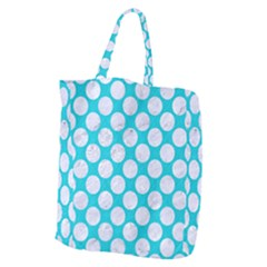 Circles2 White Marble & Turquoise Colored Pencil Giant Grocery Zipper Tote by trendistuff