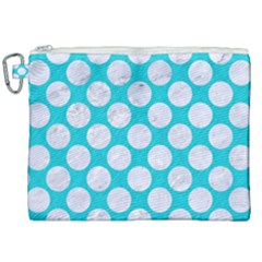 Circles2 White Marble & Turquoise Colored Pencil Canvas Cosmetic Bag (xxl) by trendistuff