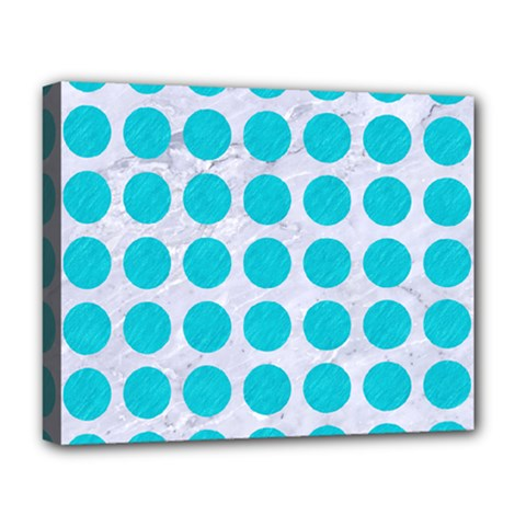Circles1 White Marble & Turquoise Colored Pencil (r) Deluxe Canvas 20  X 16   by trendistuff