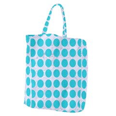 Circles1 White Marble & Turquoise Colored Pencil (r) Giant Grocery Zipper Tote by trendistuff