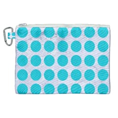 Circles1 White Marble & Turquoise Colored Pencil (r) Canvas Cosmetic Bag (xl) by trendistuff