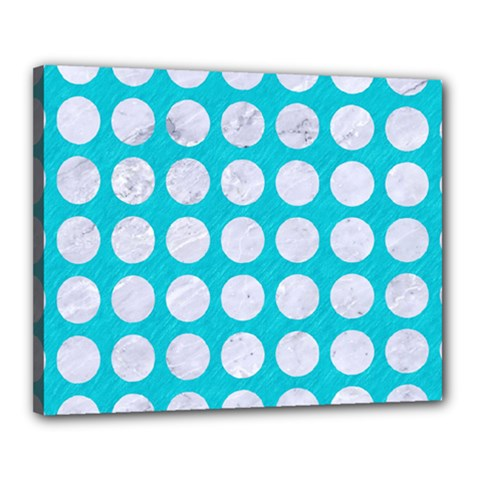 Circles1 White Marble & Turquoise Colored Pencil Canvas 20  X 16  by trendistuff