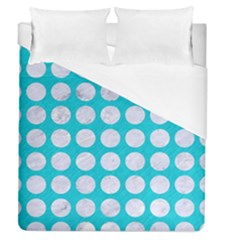 Circles1 White Marble & Turquoise Colored Pencil Duvet Cover (queen Size) by trendistuff