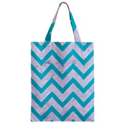 Chevron9 White Marble & Turquoise Colored Pencil (r) Zipper Classic Tote Bag by trendistuff