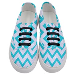 Chevron9 White Marble & Turquoise Colored Pencil (r) Women s Classic Low Top Sneakers