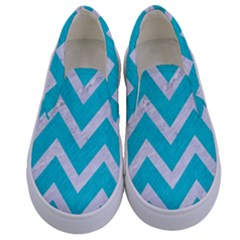 Chevron9 White Marble & Turquoise Colored Pencil Kids  Canvas Slip Ons