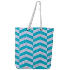 Chevron2 White Marble & Turquoise Colored Pencil Full Print Rope Handle Tote (large) by trendistuff