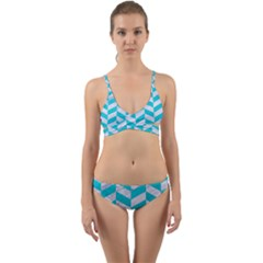 Chevron1 White Marble & Turquoise Colored Pencil Wrap Around Bikini Set