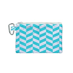 Chevron1 White Marble & Turquoise Colored Pencil Canvas Cosmetic Bag (small) by trendistuff