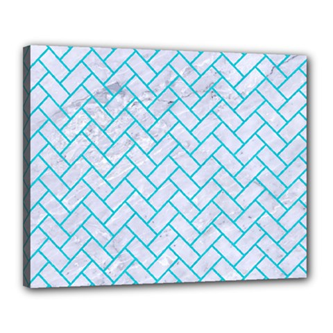 Brick2 White Marble & Turquoise Colored Pencil (r) Canvas 20  X 16  by trendistuff
