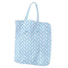 Brick2 White Marble & Turquoise Colored Pencil (r) Giant Grocery Zipper Tote by trendistuff