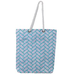Brick2 White Marble & Turquoise Colored Pencil (r) Full Print Rope Handle Tote (large) by trendistuff