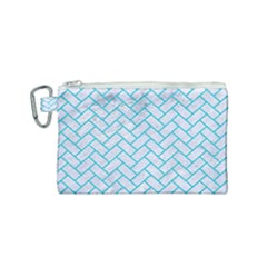 Brick2 White Marble & Turquoise Colored Pencil (r) Canvas Cosmetic Bag (small) by trendistuff