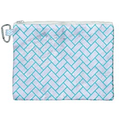 Brick2 White Marble & Turquoise Colored Pencil (r) Canvas Cosmetic Bag (xxl) by trendistuff