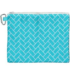 Brick2 White Marble & Turquoise Colored Pencil Canvas Cosmetic Bag (xxxl) by trendistuff